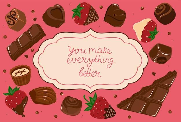Pocztówka z czekoladkami i napisem wszystko ulepszysz. grafika wektorowa.