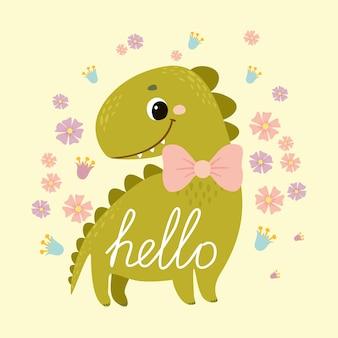 Pocztówka z dinozaurami. powitanie. słodkie dziecko dino dla dzieci