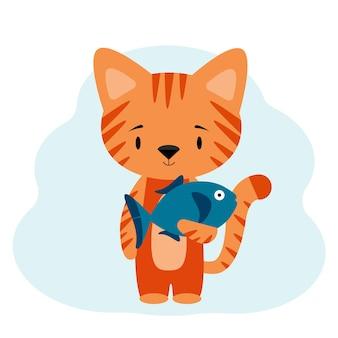 Pocztówka z grafiką wektorową przedstawiającą rudego kota i niebieską rybę w jego rękach