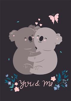 Pocztówka z kilkoma uroczymi kochającymi koalami. grafika wektorowa.