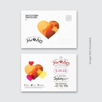 Pocztówka z kolorowym zaproszeniem na wesele