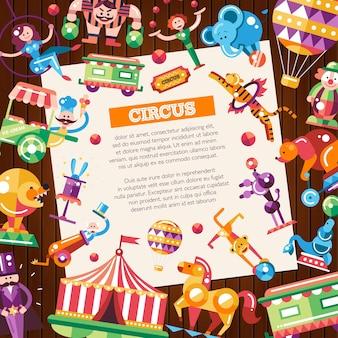 Pocztówka z nowoczesnymi, płaskimi ikonami cyrku i karnawału oraz elementami infografiki