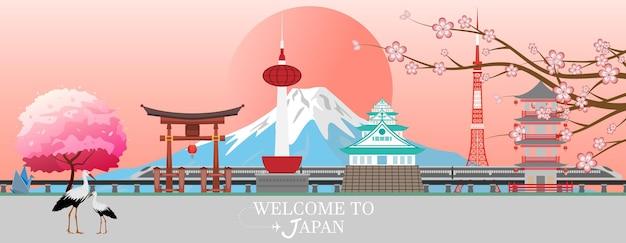Pocztówka z podróży panorama, reklama wycieczki po japonii. ilustracja wektorowa.