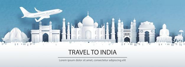 Pocztówka z podróży, reklama wycieczek znanych na całym świecie zabytków indii