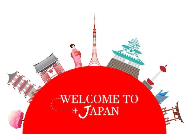 Pocztówka z podróży, reklama wycieczki po japonii. ilustracja wektorowa.