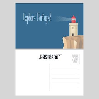 Pocztówka z portugalii ilustracja z latarnią morską na brzegu atlantyku