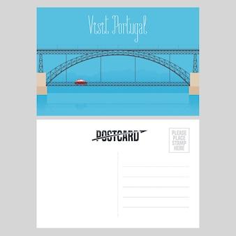 Pocztówka z portugalii z ilustracji wektorowych mostu porto nad rzeką douro