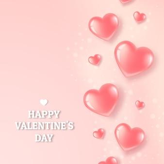 Pocztówka z różowymi sercami na różowym jasnym tle.