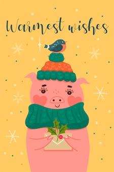 Pocztówka z uroczą świąteczną świnką.
