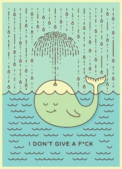 Pocztówka z uroczym, niedbałym wielorybem, pływającym w morzu w deszczu, robiącym parasol z jego fontanny.