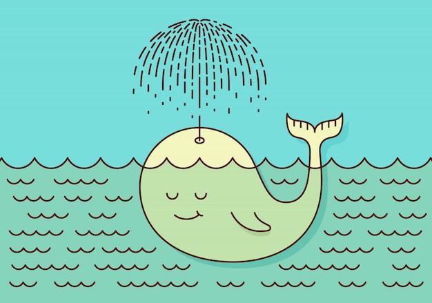 Pocztówka z uroczym nieostrożnym dzieckiem wieloryba pływającym w morzu w deszczu, tworząc parasol