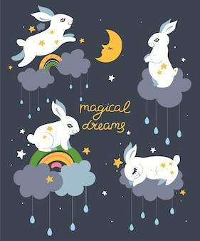 Pocztówka z uroczymi królikami i napisem magiczne sny