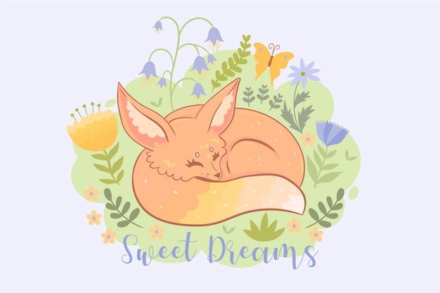 Pocztówka ze śpiącym lisem. napis sweet dreams