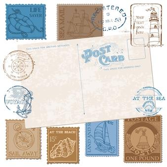 Pocztówka ze znaczkami retro sea