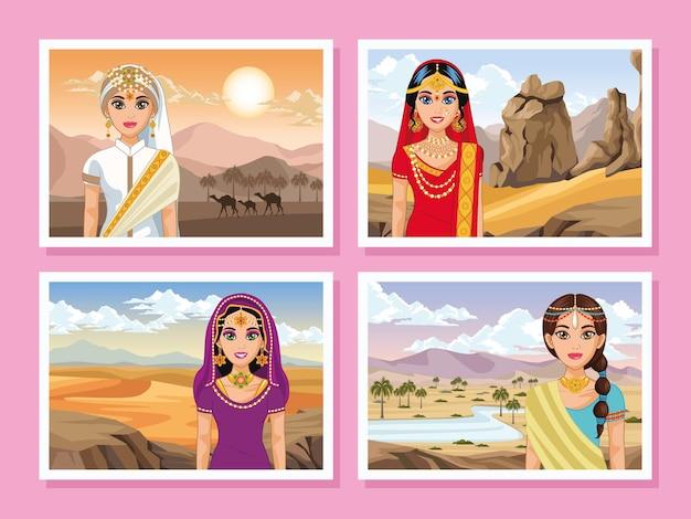 Pocztówki przedstawiające arabskie sceny panny młodej