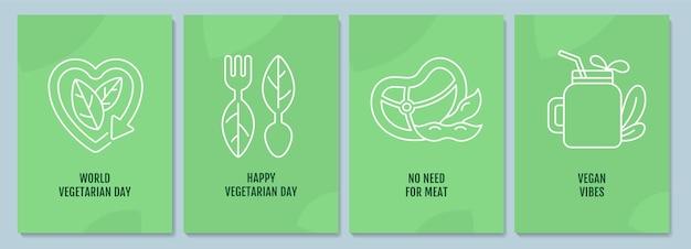 Pocztówki ruchu weganizmu z zestawem ikon liniowych glifów. wegański styl życia. kartkę z życzeniami z ozdobnym wektorem. plakat w prostym stylu z ilustracją kreatywnych przebiegłość. ulotka z życzeniami świątecznymi