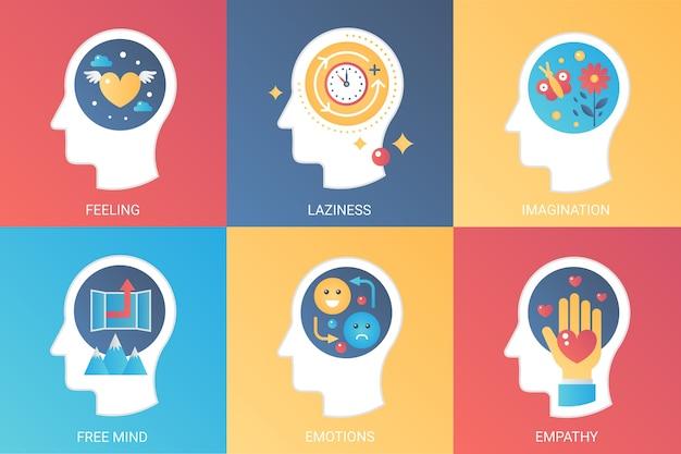 Poczucie koncepcji, lenistwo, wyobraźnia, wolny umysł, emocje i empatia. nowoczesny styl płaski gradientu