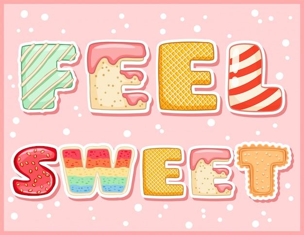 Poczuj słodką słodką zabawną pocztówkę. kusząca ulotka z napisem