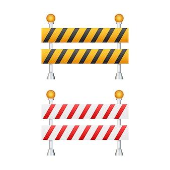 Pod barierą budowlaną. droga zamknięta na białym tle. znak ogrodzenia robót budowlanych lub remontowych. ilustracja wektorowa