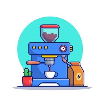 Pod ekspres do kawy z kubkiem, paczką kawy i kaktusem ikona ilustracja kreskówka. koncepcja ikona ekspres do kawy na białym tle premium. płaski styl kreskówki
