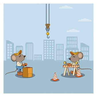 Pod konstruktorem myszy kreskówek pracowników