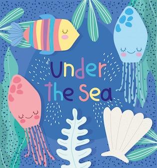 Pod powierzchnią morza, meduza wodorostów skorupa ryby szeroki krajobraz życia morskiego kreskówek
