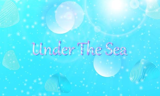 Pod wodą. syrenka wzór. abstrakcyjne tło. kreskówka wektor. niebieski kolor.