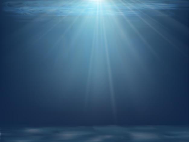 Pod wodą z falą w ciemnoniebieskim kolorze na wyspie, kreskówka ocean z błyszczącymi promieniami słońca.