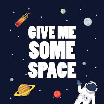 Podaj mi kosmiczny slogan z kosmicznym tłem. gwiazda i planety na tle galaktyki. ilustracja płaski