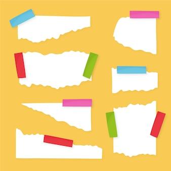 Podarta kolekcja papieru z taśmą