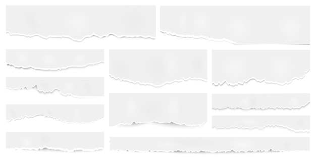 Podarte arkusze papieru, podarte papiery, podarty pusty kawałek notatki. kartki zeszytu pogniecione z postrzępioną krawędzią, tekturowe strony. elementy wektorowe ustawione do scrapbookingu