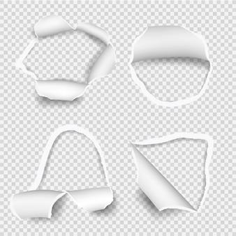 Podarte arkusze papieru. zestaw rozdartych otworów w papierze
