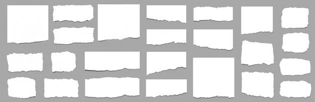 Podarte kartki papieru. zestaw rozdartych pasków papieru. wektor