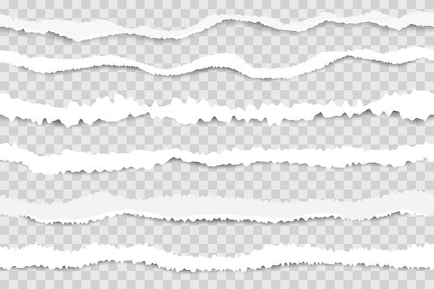 Podarte paski papieru. bezszwowe krawędzie zgrywanie papieru, złamany biały karton na przezroczystym tle. realistyczna ilustracja