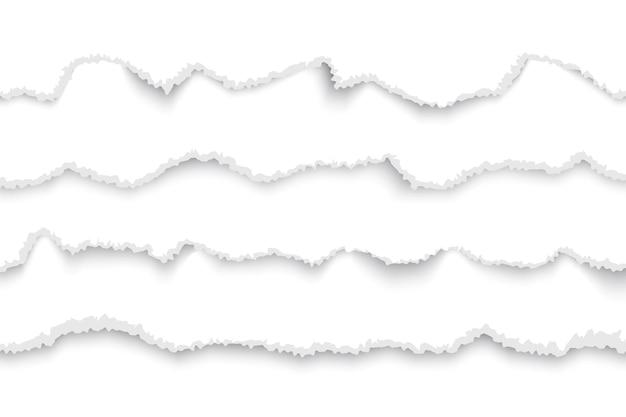 Podarty papier biały zestaw ilustracji