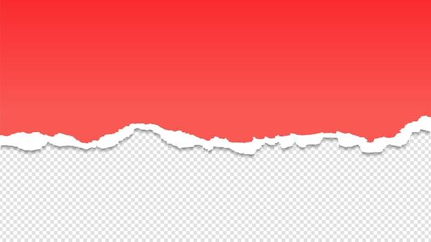 Podarty papier. ilustracja wektorowa pół arkusza papieru. rozdarty arkusz czerwony na przezroczystym tle. przegroda strony, podarte dokumenty, uszkodzony papier makulaturowy
