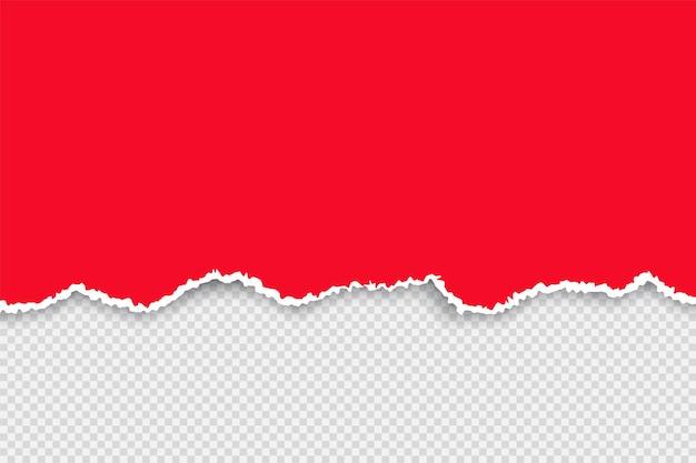Podarty papier kolorowy zestaw. podarty czerwony papier z białą wstążką. realistyczne ilustracje wektorowe na przezroczystym tle banerów i znaków