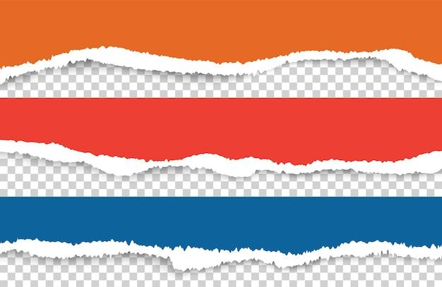 Podarty papier. podarte kolorowe arkusze papieru wektor zestaw. czerwony niebieski zgrywanie arkuszy na białym tle. podarta i podarta ilustracja materiału w postaci paska strony