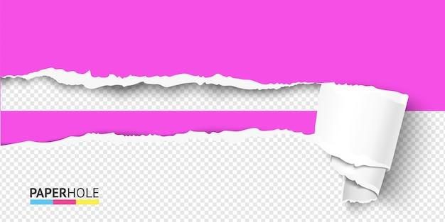 Podarty papier pusty otwór z wygiętym przewijaniem krawędzi zrywanej