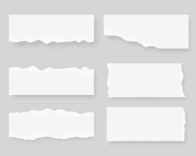 Podarty papier. zestaw zgrywanie papieru. ilustracja.