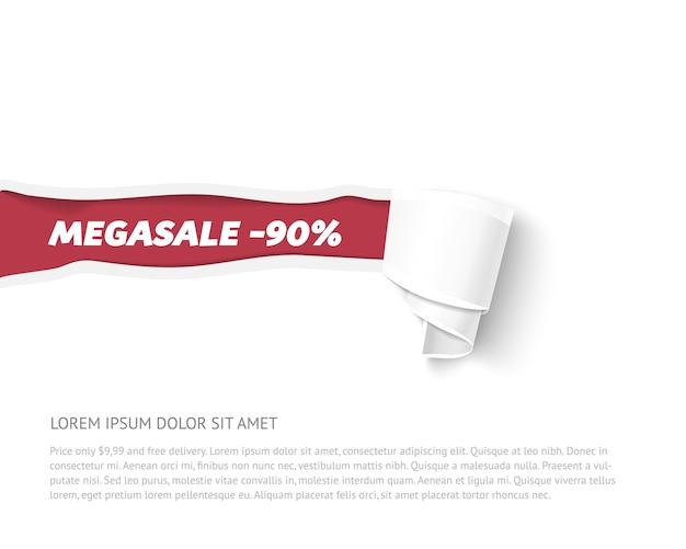 Podarty papierowy baner z rolką papieru. ilustracja papieru do sprzedaży reklamy