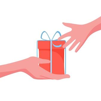 Podaruj osobie prezent, niespodziankę na boże narodzenie, urodziny lub przyjęcie. ilustracja