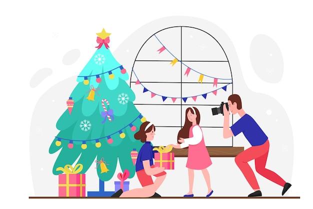Podaruj prezent na boże narodzenie, postać matki z kreskówek dając prezent świąteczny, pudełko niespodzianka dla córki