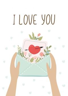 Podaruj romantyczne pocztówki z listem miłosnym. słodkie walentynki.
