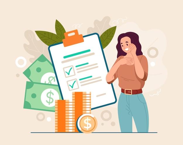 Podatek czekający pasywny wzrost koncepcji odszkodowania pieniężnego. płaska ilustracja