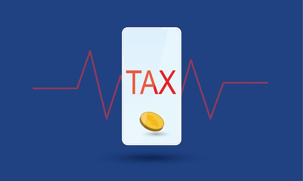 Podatek mobilny i internetowy z wykresem rytmu serca w tle zarządzanie finansami koncepcja inspiracji biznesowej