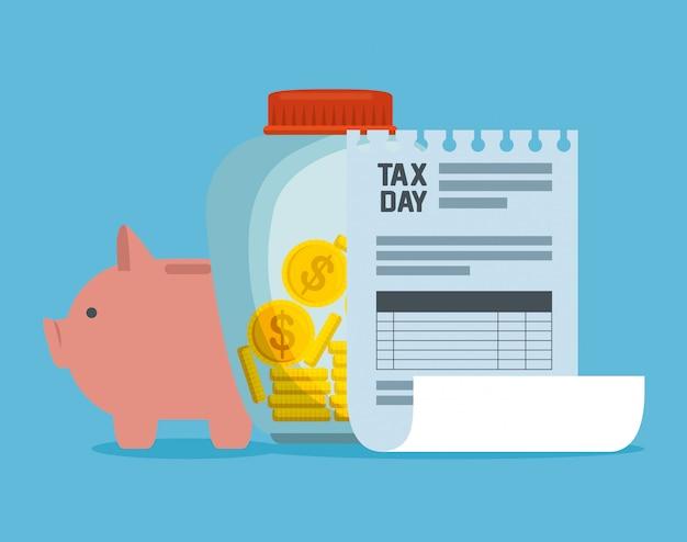 Podatek za usługi finansowe z fakturą i monetami