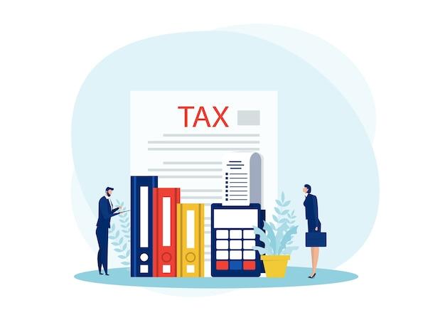 Podatkowa analiza finansowa, ludzie biznesu obliczający dokument do ryczałtu podatków