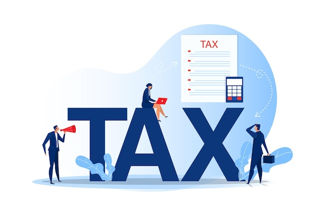 Podatkowa analiza finansowa; ludzie biznesu obliczania dokumentu na podatki płaskie