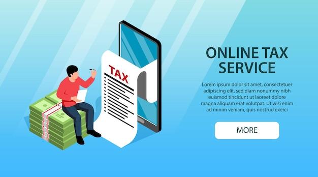 Podatnik wypełniający formularz zeznania podatkowego płacący elektronicznie online przez telefoniczną izometryczną poziomą banerową ilustrację wektorową